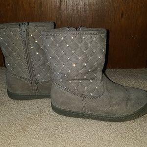Girls grey, rhinestone boots